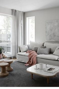 Amazingly talented stylist Pella Hedebys newest project for JM. Cant believe its IKEAs Söderhamn sofa with Bemz linen covers. So pretty! - Amazing Homes Interior Hygge Home, Estilo Interior, Interior Styling, Interior Design Living Room, Living Room Decor, Bedroom Decor, Söderhamn Sofa, Sofa Cushions, Living Room Scandinavian