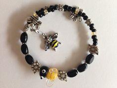 Lampwork Bee Wraparound Bracelet by AllaLunaDesign on Etsy