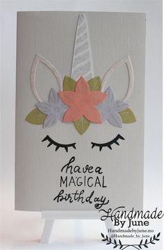 Unicorn bithdaycard made by HandmadebyJune.no Visit the website to buy. Ark, Unicorn, Website, Birthday, Handmade, Stuff To Buy, Decor, Birthdays, Hand Made