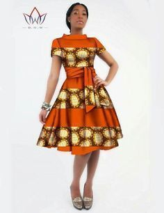 Gender: Women Waistline: Natural Decoration: Sashes Sleeve Style: Regular Pattern Type: Print Style: Casual Brand Name: BintaRealWax Material: Cotton Season: Summer Dresses Length: Knee-Length Necklin African Inspired Fashion, African Dresses For Women, African Print Dresses, African Print Fashion, Africa Fashion, African Attire, African Wear, African Fashion Dresses, African Women