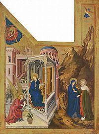 Anunciaciñon y Visitación del retablo de la Cartuja de Champmol. Melchior Broederlam