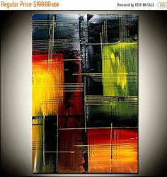 Abstract painting 36 x 24 Original handmade oil by largeartwork
