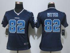 Women New Nike Dallas Cowboys 82 Witten Navy Blue Strobe Elite Jersey