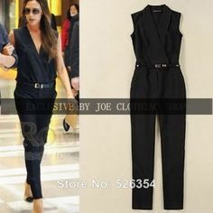 2014 Summer New Casual Rompers Womens Jumpsuit Victoria Beckham Same Design Sleeveless macacao V-neck Jumpsuit Romper with Belt $28.50