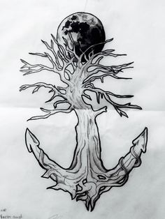 Tattoo of a tree turning into a anchor through wraparound segments of an anchor as well as make up the shape. Anchor Tattoo Meaning, Anchor Tattoos, Sweet Tattoos, Top Tattoos, Tatoos, Anchor Drawings, Surreal Tattoo, Symbol Drawing, Rock Tattoo