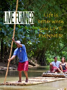 Naturally, serene romantic & FUNNER - Bamboo River Rafting, Jamaica!