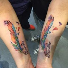 Colorful Feathers Matching Sister Tattoos