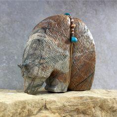 Zuni Fetish-Native American-Zuni Carving-BIG  BEAR-Totem Animal- Picasso Marble