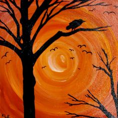 What an awesome idea to do with kids - let them paint the background, let it dry, stencil in the trees and birds (no instructions but great idea!)