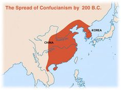 The following map shows the hearth and spread of Confucianism.