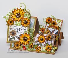 Hello Friends, Today I have a Side Step card to share with you using Heartfelt Creations Classic Sunflower Collection. I love this collection, having the papers, stamps and dies coordinate with each o