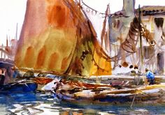 Drying Sails | John Singer Sargent | oil painting