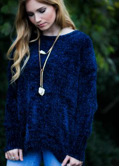 8024c62769e45 Love this beautiful and simple casual sweater. Navy Blue Sweater, Blue  Sweaters, Weather. Epiphany Boutiques