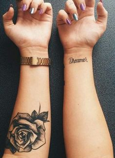 Black Rose Floral Tattoo Ideas Inner Forearm - MyBodiArt.com