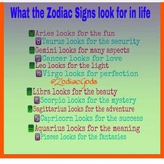 what the zodiac signs want in life. i do not own this.