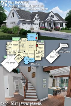 Architectural Designs Craftsman House Plan 16902WG  3 - 4 BR | 3.5+ BA | 2,500+ Sq.Ft. | +480 Sq.Ft. Bonus-Over-Garage Ready when you are. Where do YOU want to build? #16902WG #adhouseplans #architecturaldesigns #houseplan #architecture #newhome #newconstruction #newhouse #homedesign #dreamhome #dreamhouse #homeplan #architecture #architect  #Farmhouse #craftsmanhome #craftsmanhouse