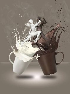Milk Coffee by Burgeras on DeviantArt Up Imagenes, Aqua Wallpaper, Cool Illusions, Stippling Art, Tea And Books, Cafe Art, Good Morning Coffee, Coffee Poster, Surrealism Photography