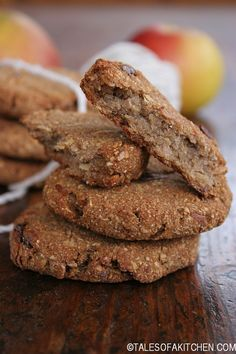 apple date buckwheat cookies Makes 10 cookies 350 oven 30 min or so 1 cup buckwheat flour 1 cup oats 1 medium small apple, cored and grated 1 ripe banana, roughly mashed 6 dates, pitted and chopped (Medjool are best) 1 tsp cinnamon powder 1 TBSP maple syrup. Grated ginger and molasses and oil if needed