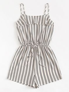 Shop Tie Waist Striped Cami Romper at ROMWE, discover more fashion styles online. Cute Outfits For School, Cute Casual Outfits, Cute Summer Outfits, Outfits For Teens, Pretty Outfits, Casual Clothes, Girls Fashion Clothes, Summer Fashion Outfits, Cute Fashion