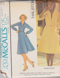 77e9d55b2c4e 1975 Halston Zip Front Flared Dress Vintage Pattern McCalls Princess Dress  Patterns, Seventies Fashion,
