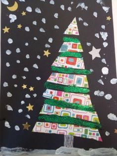 Christmas tree artwork - love the colorful paper in between