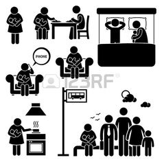 Mother Woman Breastfeeding Baby Stick Figure Pictogram Icons photo