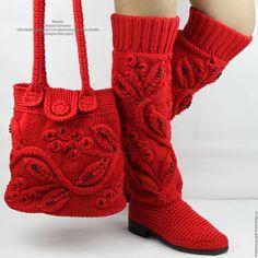 Обувь ручной работы. Ярмарка Мастеров - ручная работа. Купить Красные сапоги сумка весна - осень  вязаные. Handmade.