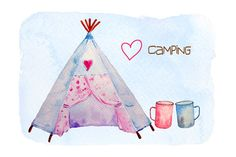Hand painted watercolor camping clipart teepee tent by CornerCroft