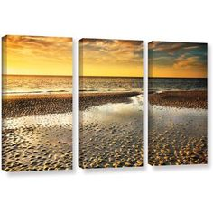 ArtWall Steve Ainsworth Returning Home 3-Piece Gallery-wrapped Canvas Set, Size: 24 x 36, Brown