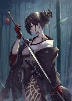 Dark Anime Girl, Manga Anime Girl, Pretty Anime Girl, Cool Anime Girl, Beautiful Anime Girl, Kawaii Anime Girl, Female Samurai, Samurai Anime, Anime Fantasy