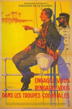 """""""Le Régiment de marche du Tchad - Des sables de Koufra aux plaines du Liban"""", Éric Deroo. Une affiche datant de l'entre-deux-guerres, incitant les jeunes Français à s'engager dans les troupes coloniales."""