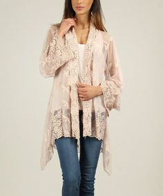 This Old Pink Elodie Hi-Low Open Cardigan by Charlotte&Louis is perfect! #zulilyfinds