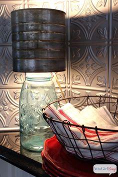 Mason Jar Lights - Mason Jar Lamp with Faux Zinc Shade - DIY Ideas with Mason Jars for Outdoor, Kitc Rustic Table Lamps, Rustic Chandelier, Rustic Decor, Jar Chandelier, Rustic Backdrop, Chandelier Ideas, Rustic Chair, Rustic Curtains, Rustic Centerpieces