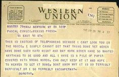 Dorothy Parker born on this day in 1893 informs her editor that she has writer's. Dorothy Parker b Letters Of Note, Dorothy Parker, Writing Quotes, Literary Quotes, Day Work, Day For Night, Paper Cover, I Cant, Getting Things Done