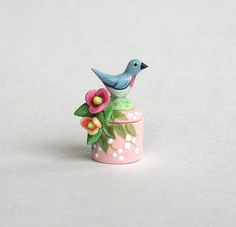 Miniature Bluebird & Blossoms Secret Box OOAK by C. Rohal