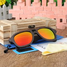 Handmade Polarized Wooden Sunglasses With Black Frame in Wooden Box Wooden Sunglasses, Mirrored Sunglasses, Polarized Sunglasses, Oakley Sunglasses, Handmade Design, Wooden Boxes, Fashion Women, High Fashion, Frame