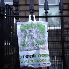 EdinburghSketcher's work on our bags (Our new emergency carrier bag if for if you forget to bring your own bags. The mandatory government 5p charge contributes to our good cause which changes monthly)