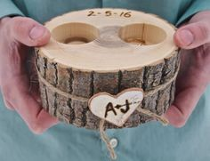 Personalized WOODEN Ring Holder~Ring Bearer~Brown-Wood~Rustic Country~Wedding