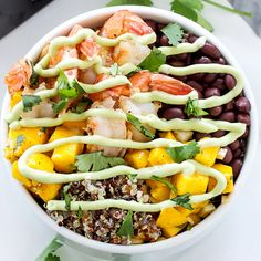 Tired of brown rice? Try quinoa instead! We love this Cilantro Lime Shrimp Quinoa Bowl. #healthyrecipes #wholegrains #recipes