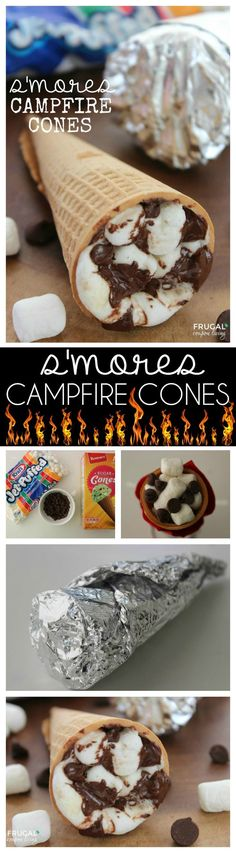 Campfire Cones S'mores campfire cones go outside the box in creating the ultimate s'mores recipe for adults and kids.S'mores campfire cones go outside the box in creating the ultimate s'mores recipe for adults and kids. Köstliche Desserts, Dessert Recipes, Recipes Dinner, Campfire Food, Campfire Desserts, Campfire Recipes, Desserts For Camping, Campfire Crafts For Kids, Cookies Et Biscuits