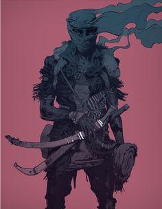 Robert Sammelin ARTWORKS Male/ Samurai/ Sword/ Armour/ Smoke
