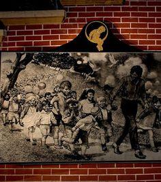 Une peinture de Michael Jackson avec des enfants
