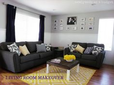 Navy, Yellow, Grey, and White Living Room on a budget