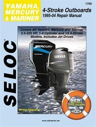 Mercury , Mariner & Yamaha 4-Stroke Outboard Service Manual -  This Seloc outboard repair manual covers Mercury , Mariner & Yamaha 4 stroke marine motors for the years 1995-2004.Seloc marine manuals can save you money on maintenance and repair costs. Step-by-step procedures and detailed illustrations guide you through every job, from routine maintenance and troubleshooting, all the way to complete teardown & rebuild of the marine motor.