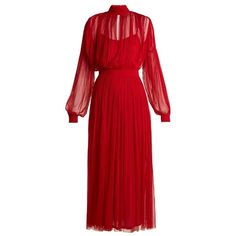 Amanda Wakeley High-neck gathered silk-tulle midi dress (€905) ❤ liked on Polyvore featuring dresses, red, midi slip dress, silk slip dress, silk dress, long silk dress and red slit dress