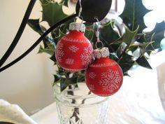 Christmas Earrings Red Christmas Bulb Earrings by SmithNJewels