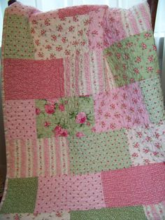 Pink Roses Flannel Quilt for Baby Girl or by SouthernBelleDesigns, $125.00