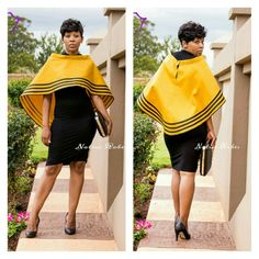 Yellow overcoat with black strips.