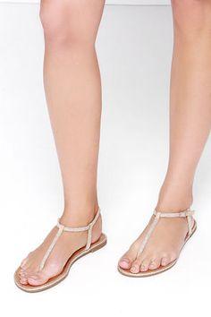 Cute Beige Sandals - Rhinestone Sandals - Thong Sandals - $49.00