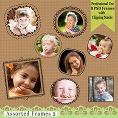 Verschiedene Frames 2 - Frames handgezeichnete mit Schnittmasken in Psd - kommerzielle Nutzung - Instant Download - Foto-Werkzeug